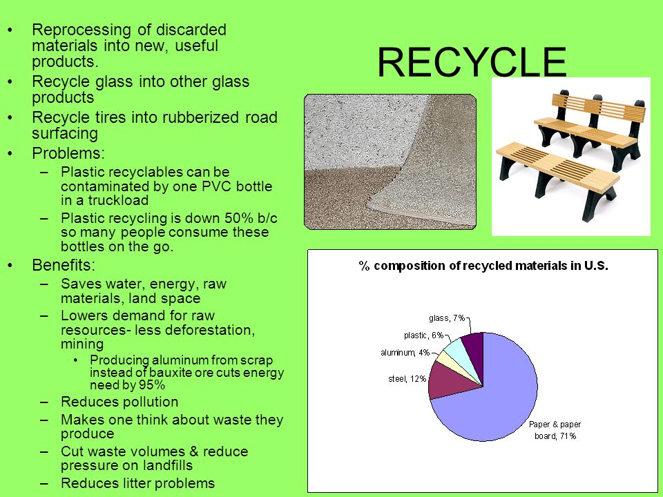 RECYCLE Reprocessing of discarded materials into new, useful products.