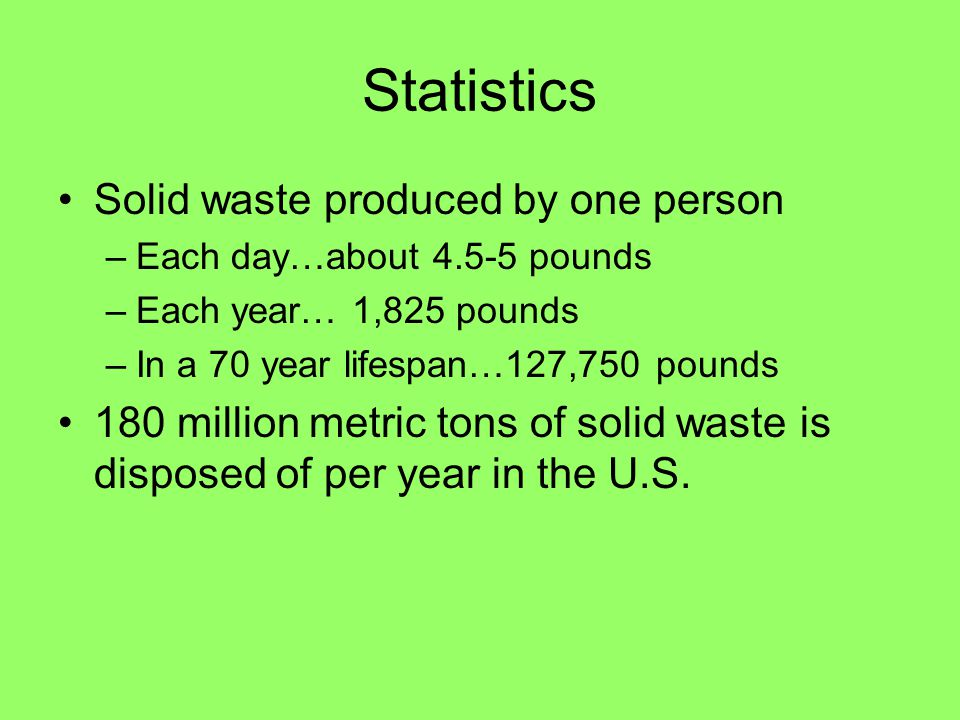 Statistics Solid waste produced by one person