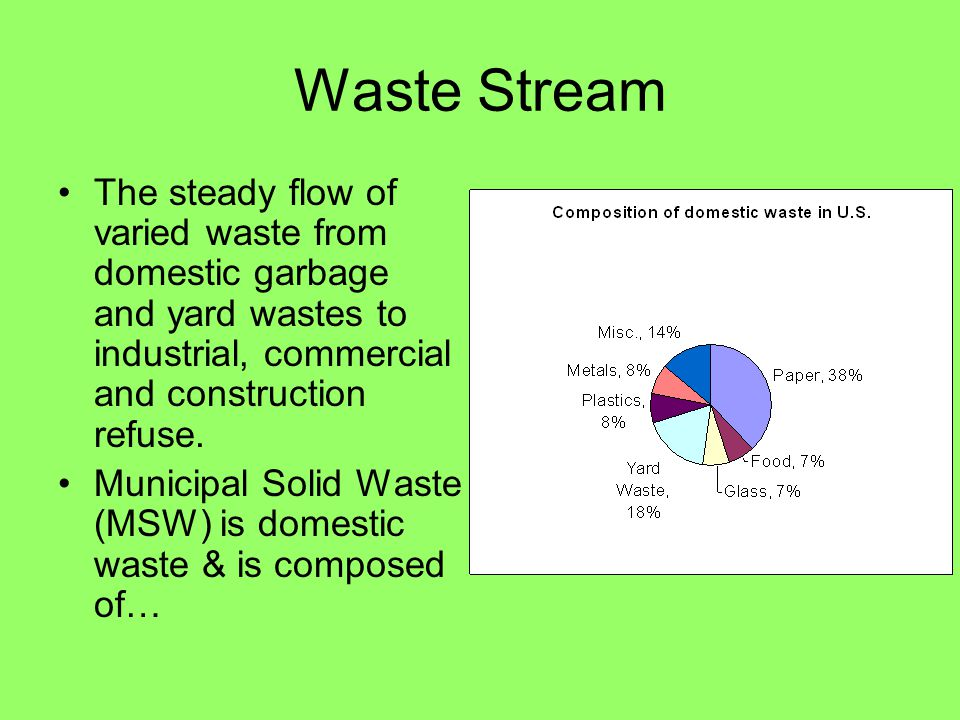 Waste Stream The steady flow of varied waste from domestic garbage and yard wastes to industrial, commercial and construction refuse.