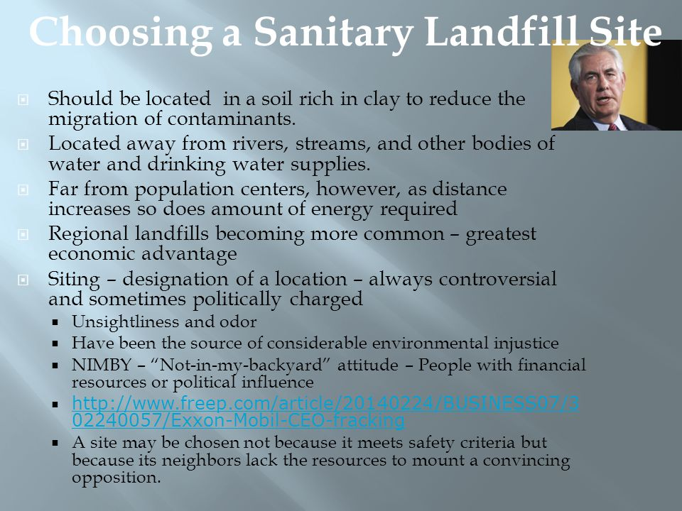 Choosing a Sanitary Landfill Site