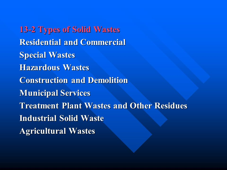 13-2 Types of Solid Wastes Residential and Commercial. Special Wastes. Hazardous Wastes. Construction and Demolition.