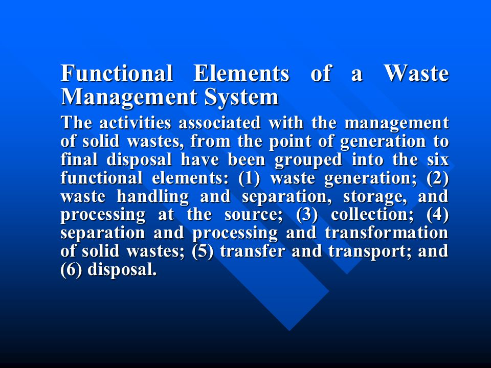 Functional Elements of a Waste Management System
