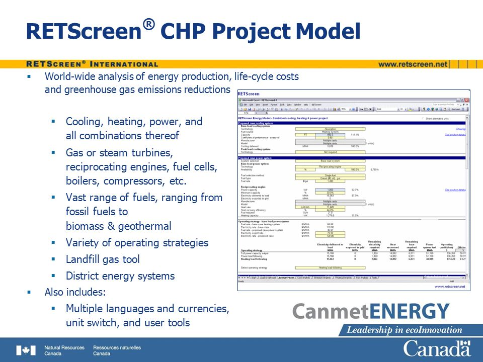 RETScreen® CHP Project Model