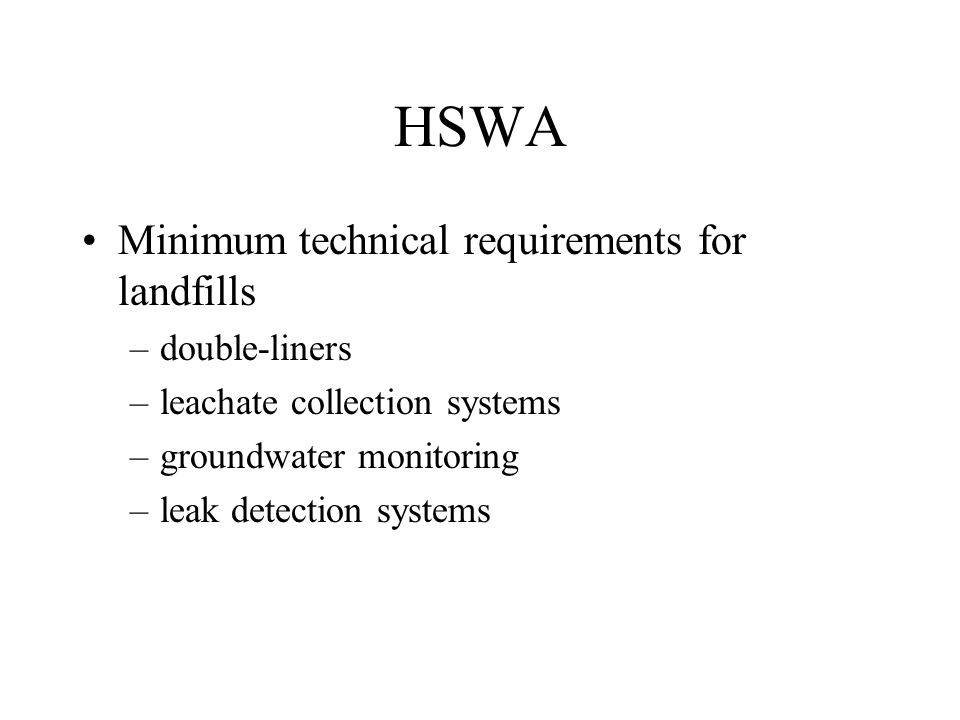 HSWA Minimum technical requirements for landfills double-liners