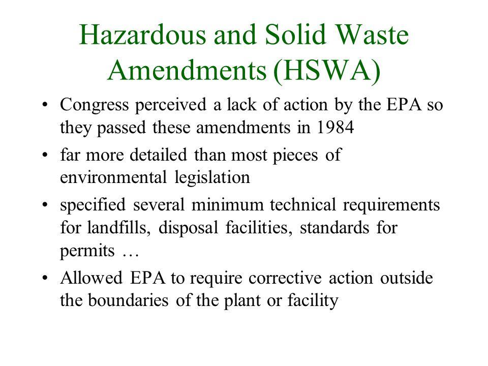 Hazardous and Solid Waste Amendments (HSWA)