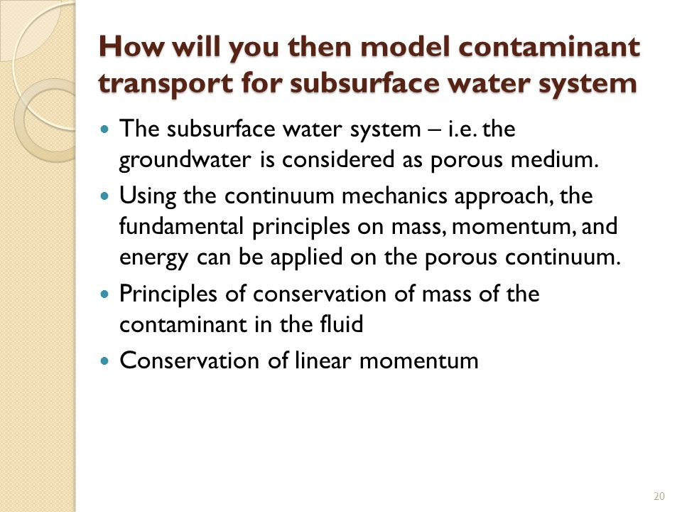 How will you then model contaminant transport for subsurface water system
