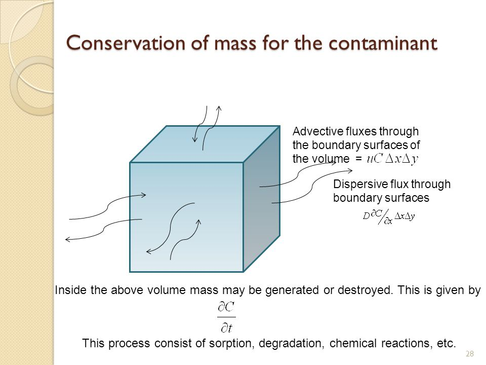 Conservation of mass for the contaminant