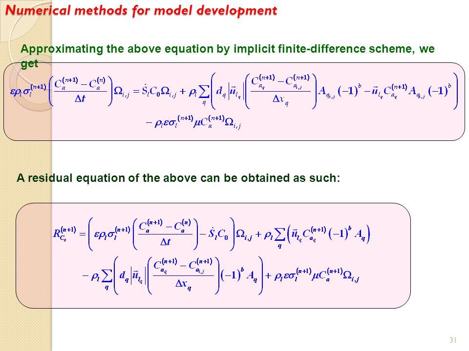 Numerical methods for model development