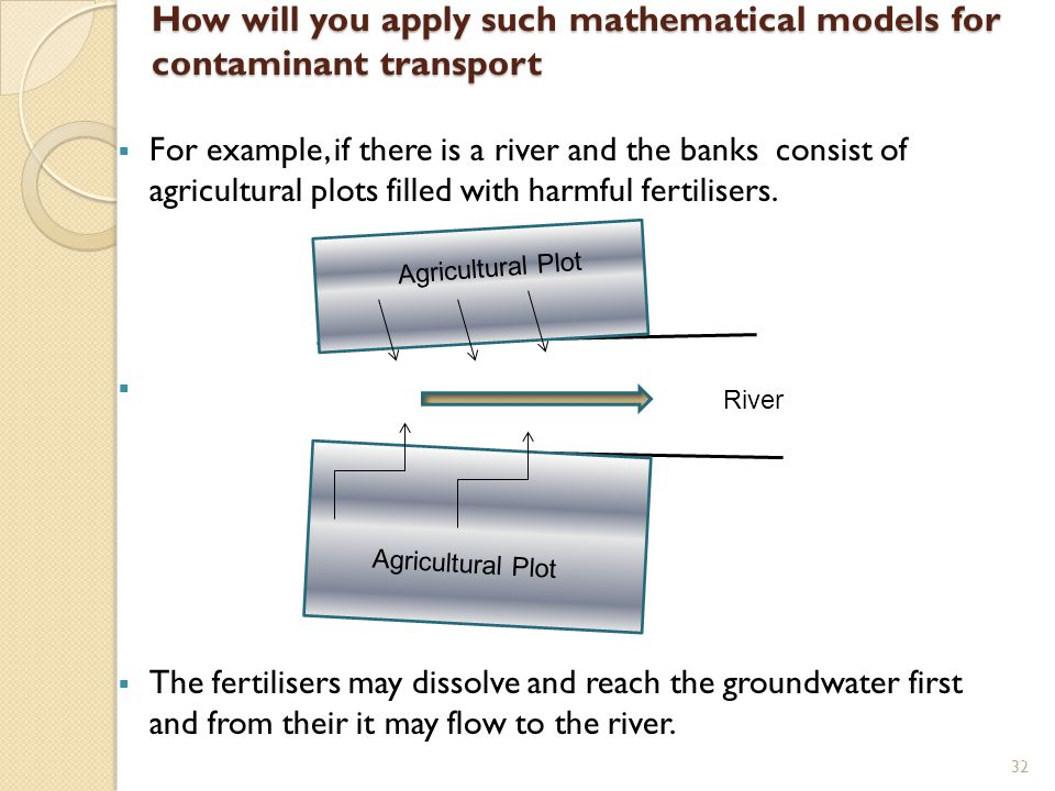 How will you apply such mathematical models for contaminant transport