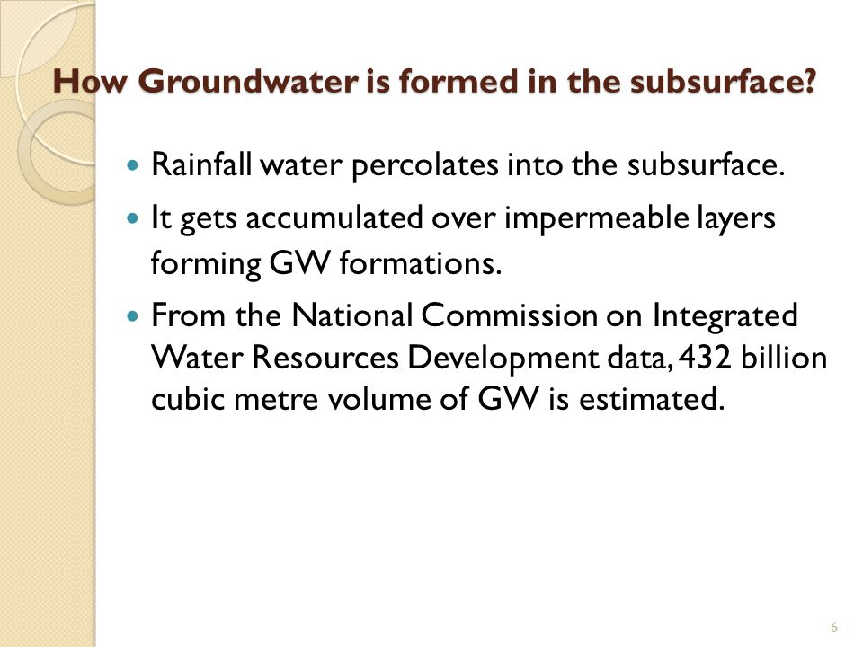 How Groundwater is formed in the subsurface