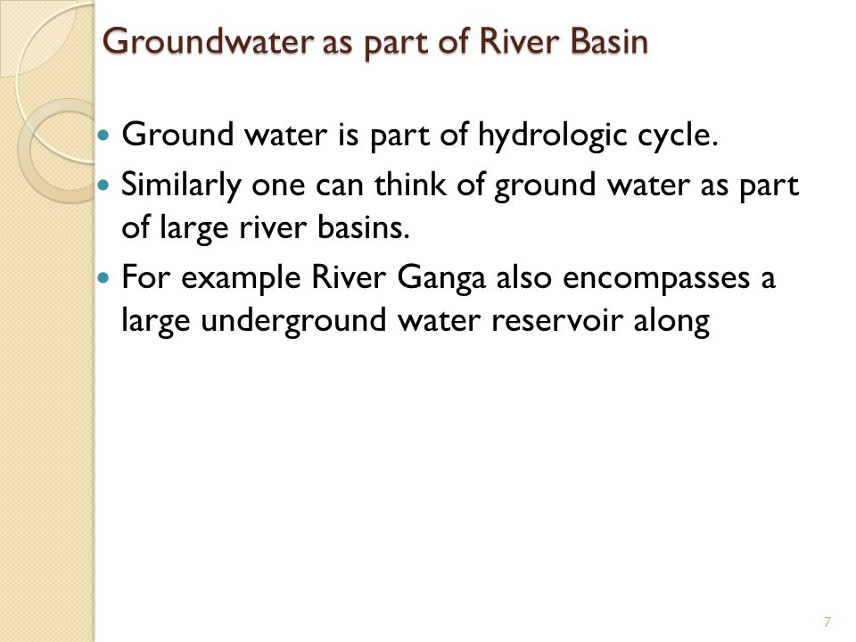 Groundwater as part of River Basin