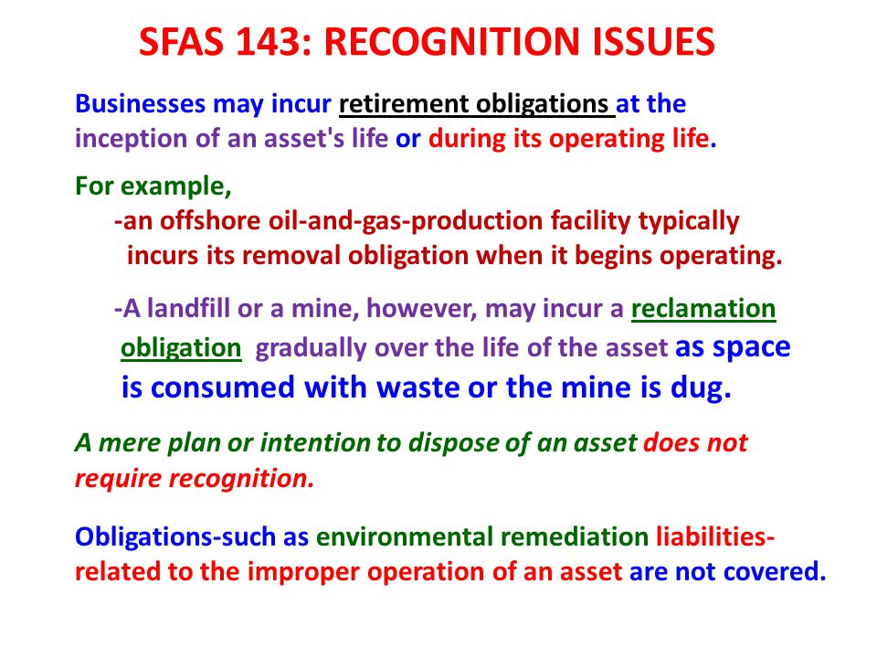 SFAS 143: RECOGNITION ISSUES
