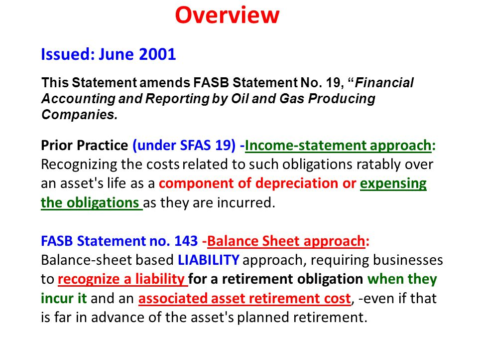 Overview Issued: June 2001 This Statement amends FASB Statement No. 19, Financial Accounting and Reporting by Oil and Gas Producing Companies.