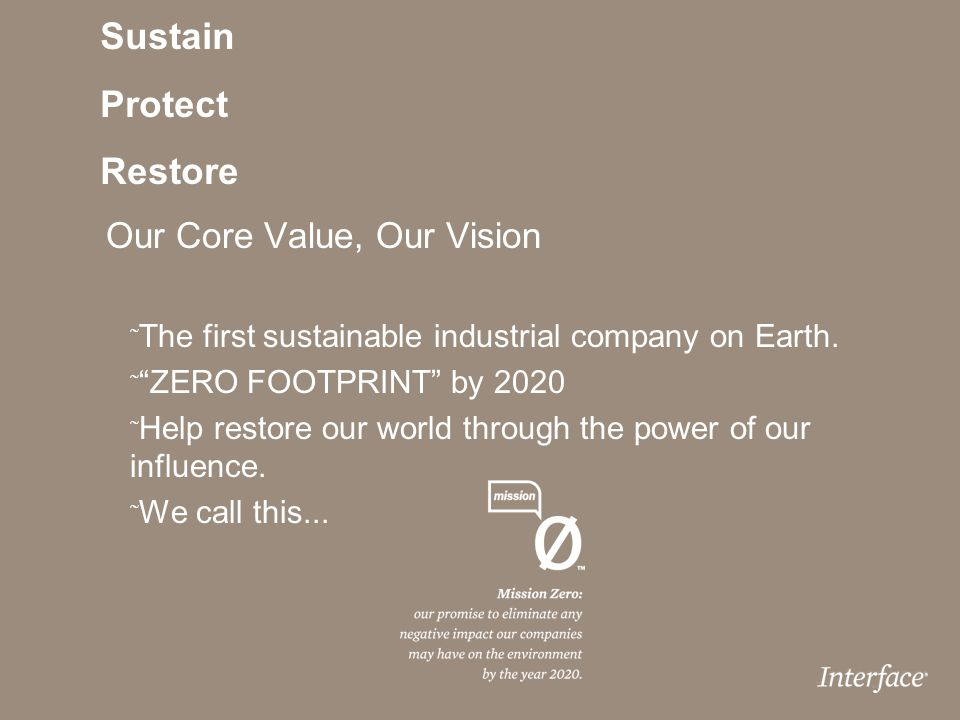 Sustain Protect Restore Our Core Value, Our Vision