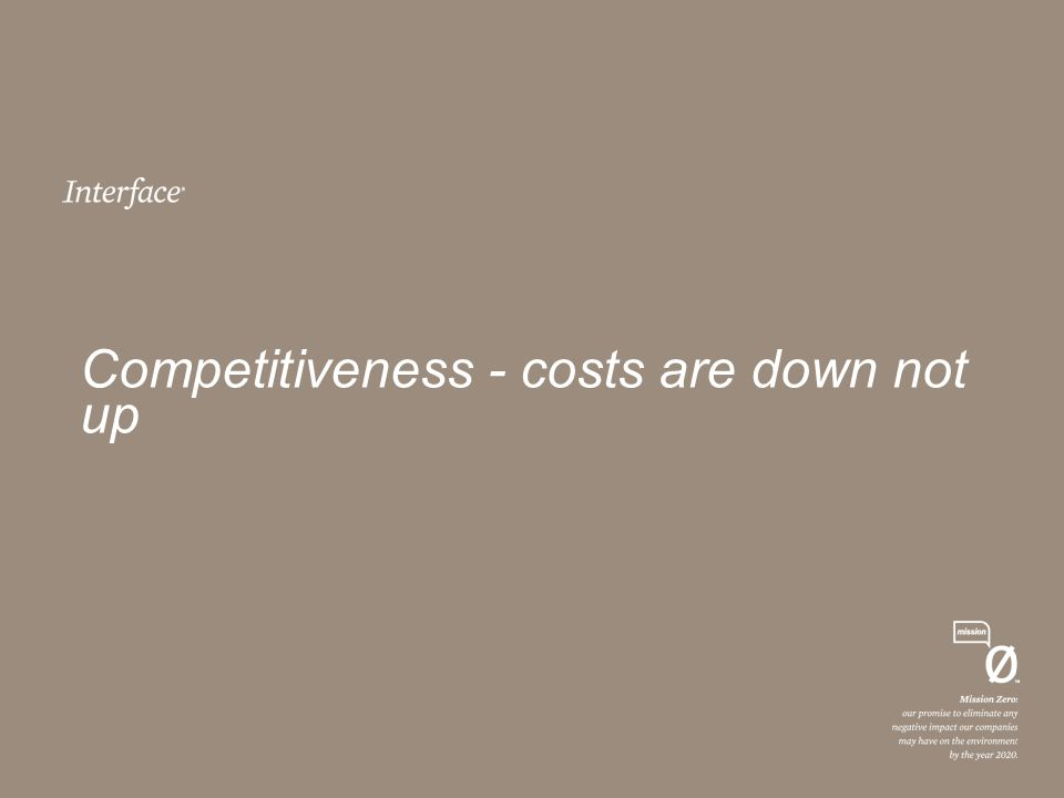 Competitiveness - costs are down not up