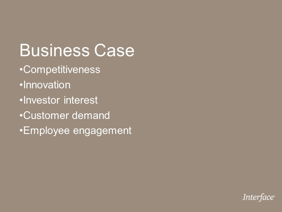 Business Case Competitiveness Innovation Investor interest