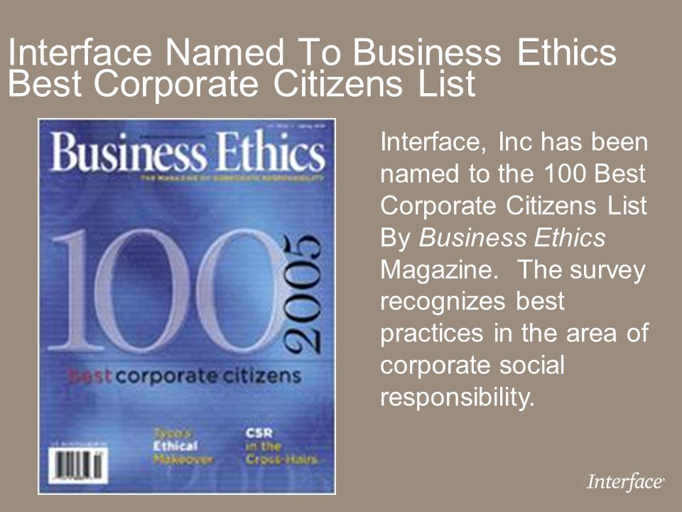 Interface Named To Business Ethics Best Corporate Citizens List