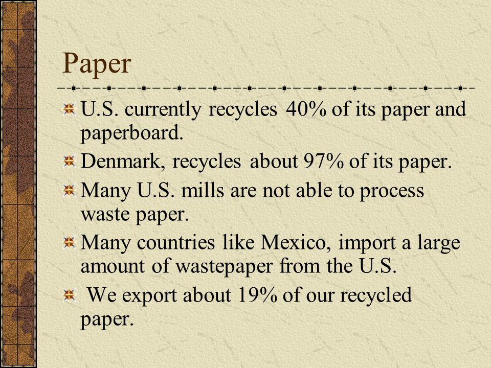 Paper U.S. currently recycles 40% of its paper and paperboard.