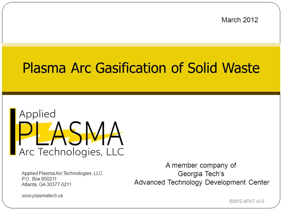 Plasma Arc Gasification of Solid Waste