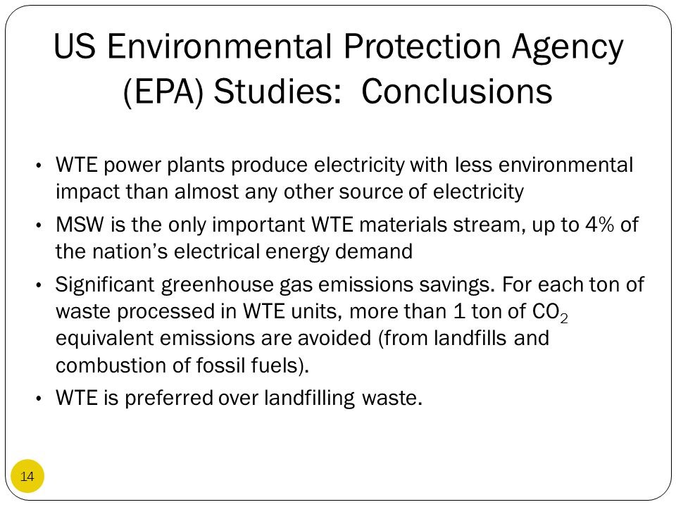 US Environmental Protection Agency (EPA) Studies: Conclusions