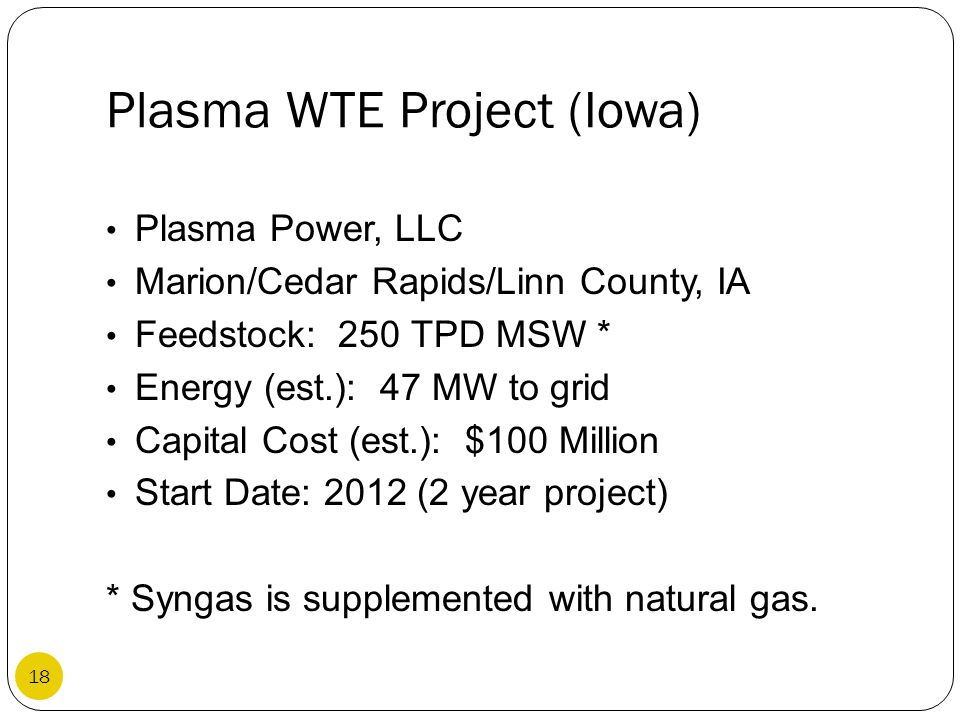 Plasma WTE Project (Iowa)