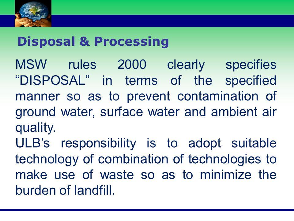Disposal & Processing