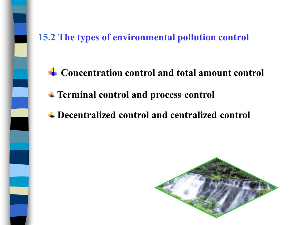 15.2 The types of environmental pollution control