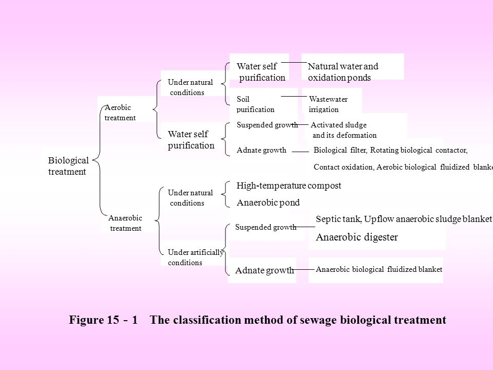 Figure 15-1 The classification method of sewage biological treatment