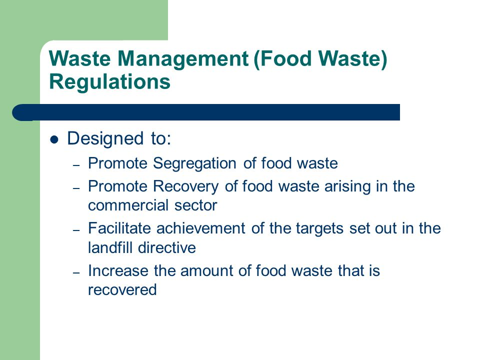 Waste Management (Food Waste) Regulations