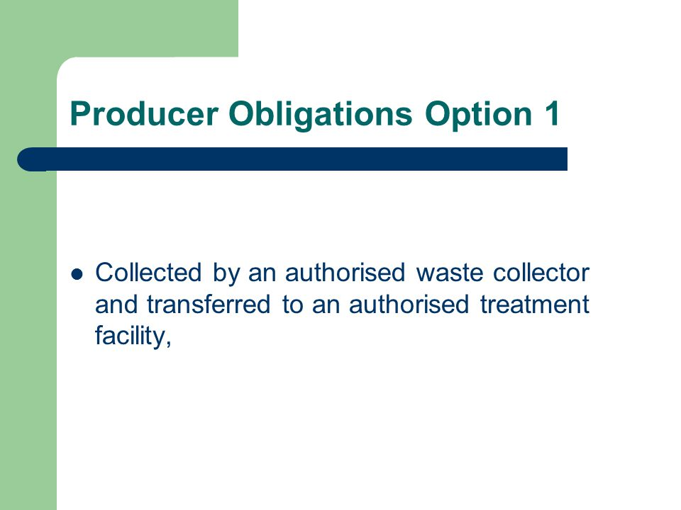 Producer Obligations Option 1