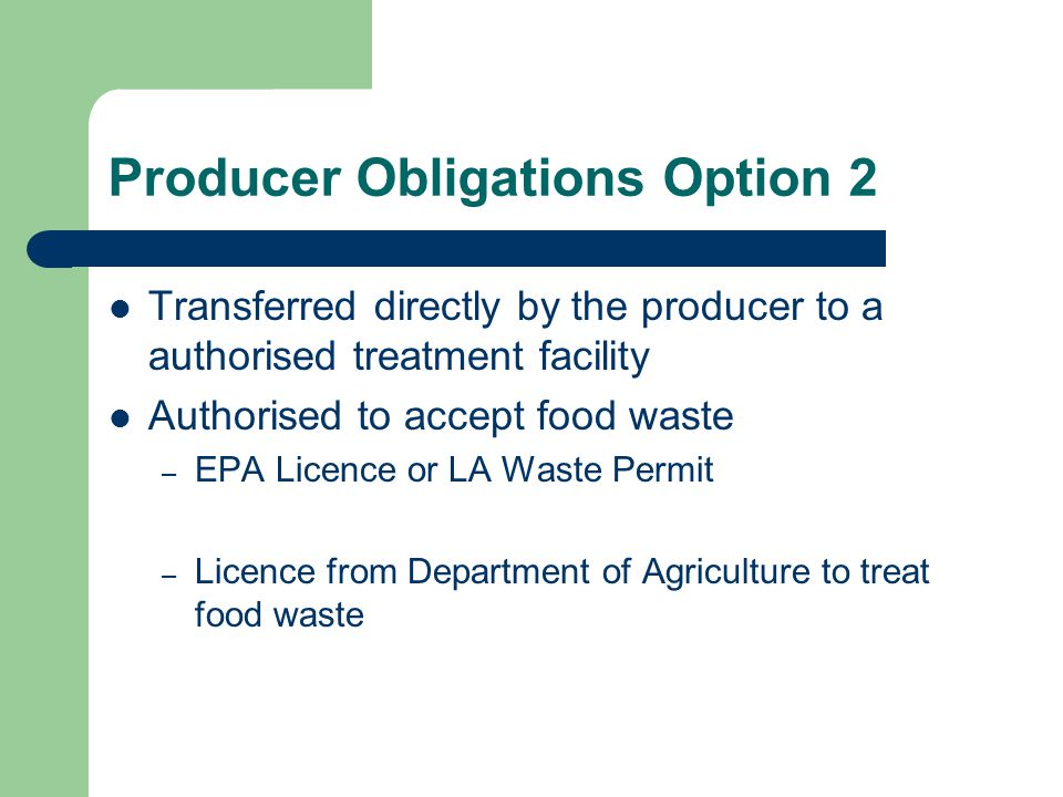 Producer Obligations Option 2