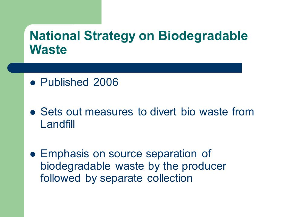 National Strategy on Biodegradable Waste