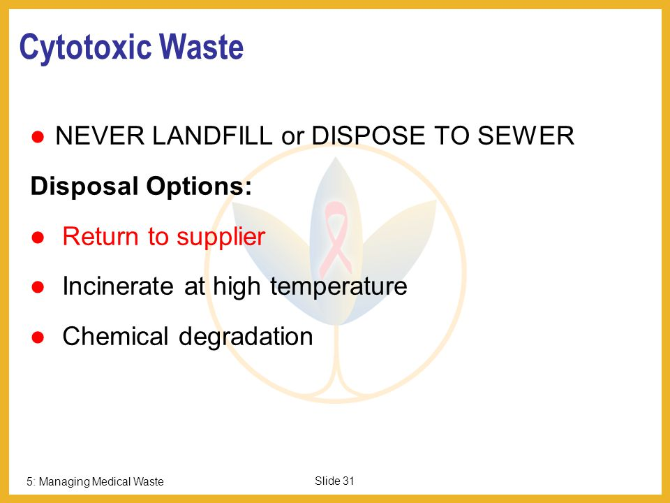 Cytotoxic Waste NEVER LANDFILL or DISPOSE TO SEWER Disposal Options: