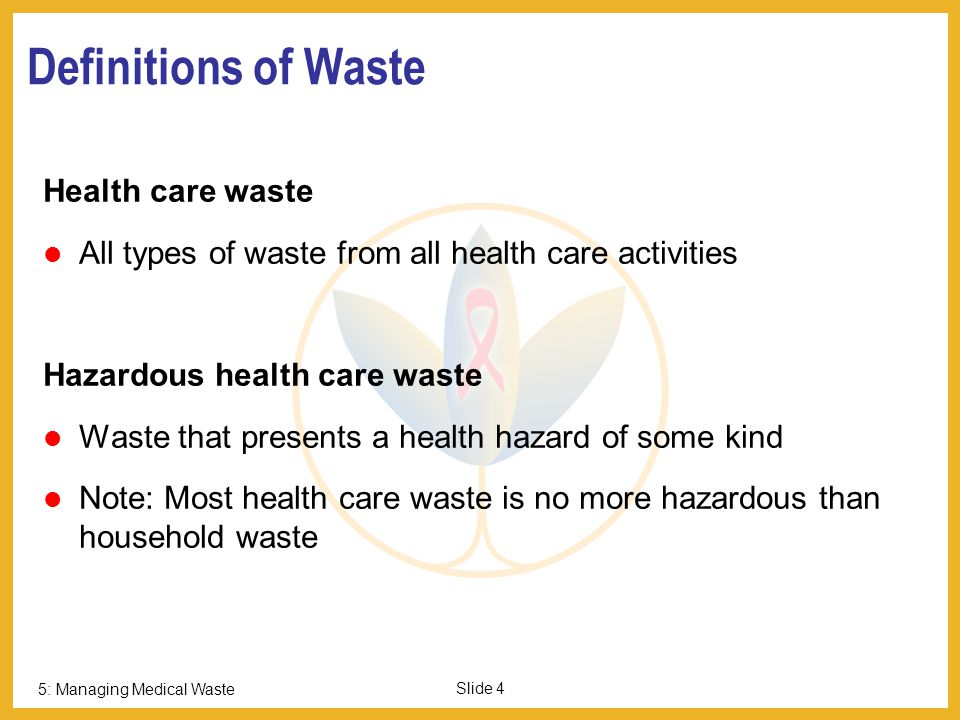 Definitions of Waste Health care waste