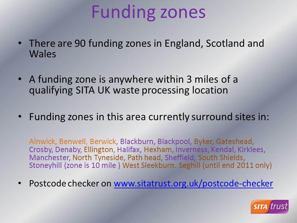 Funding zones There are 90 funding zones in England, Scotland and Wales.