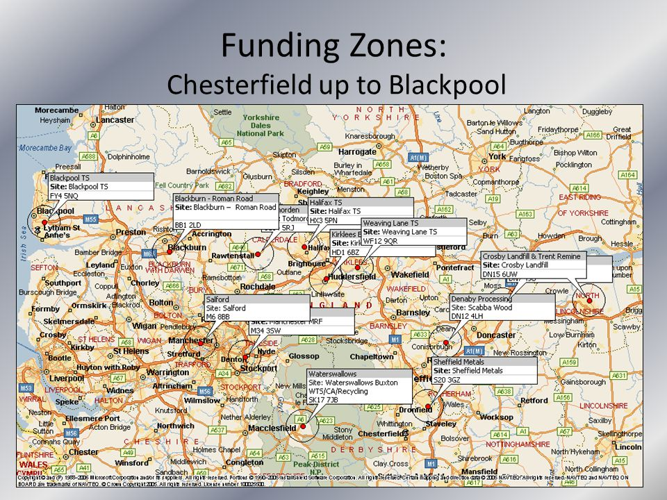 Funding Zones: Chesterfield up to Blackpool