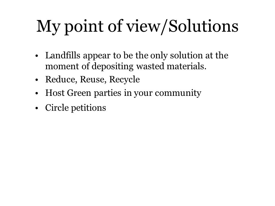 My point of view/Solutions