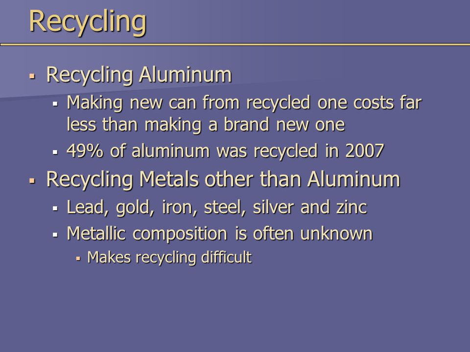 Recycling Recycling Aluminum Recycling Metals other than Aluminum