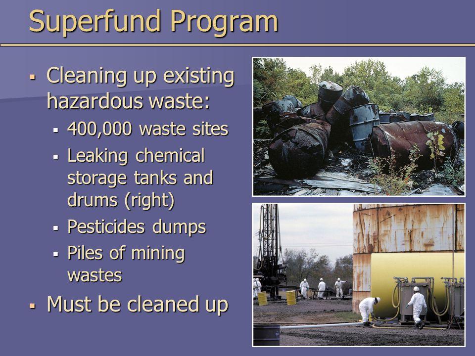Superfund Program Cleaning up existing hazardous waste: