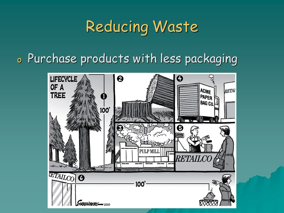 Reducing Waste Purchase products with less packaging