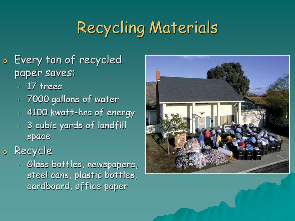 Recycling Materials Every ton of recycled paper saves: Recycle