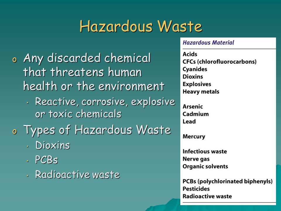 Hazardous Waste Any discarded chemical that threatens human health or the environment. Reactive, corrosive, explosive or toxic chemicals.