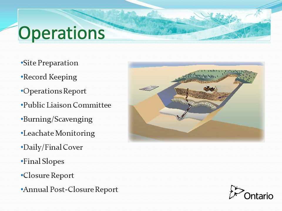 Operations Site Preparation Record Keeping Operations Report