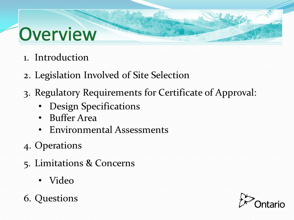 Overview Introduction Legislation Involved of Site Selection