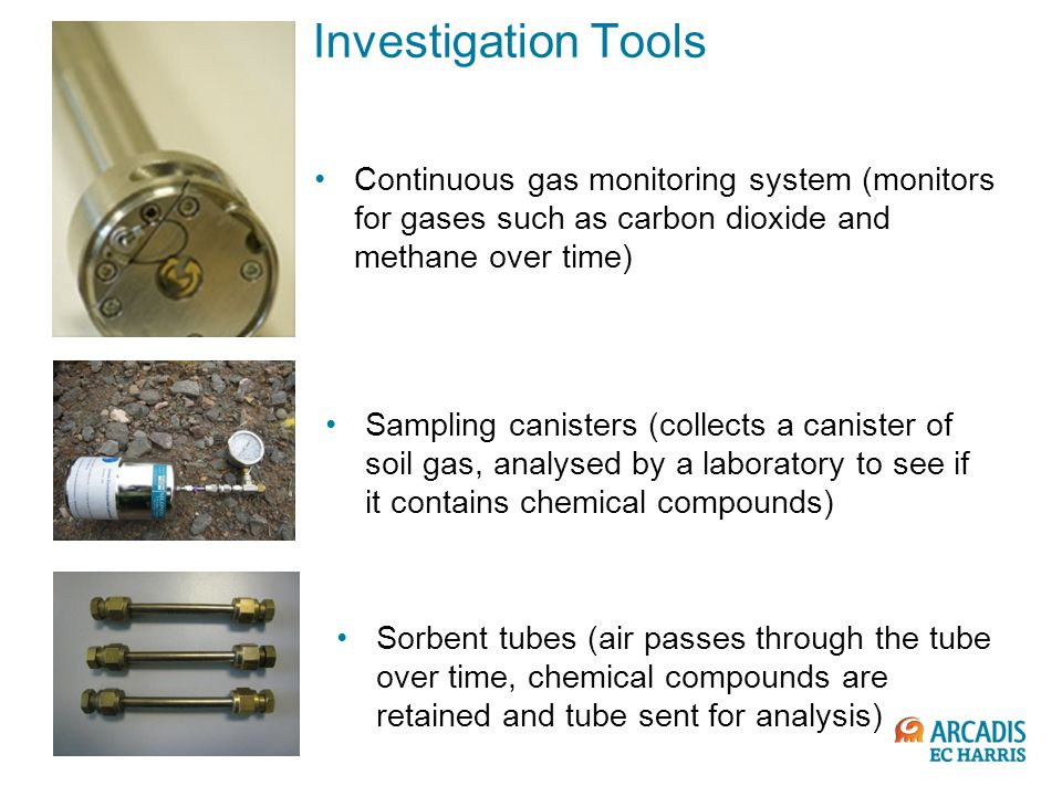 Investigation Tools Continuous gas monitoring system (monitors for gases such as carbon dioxide and methane over time)