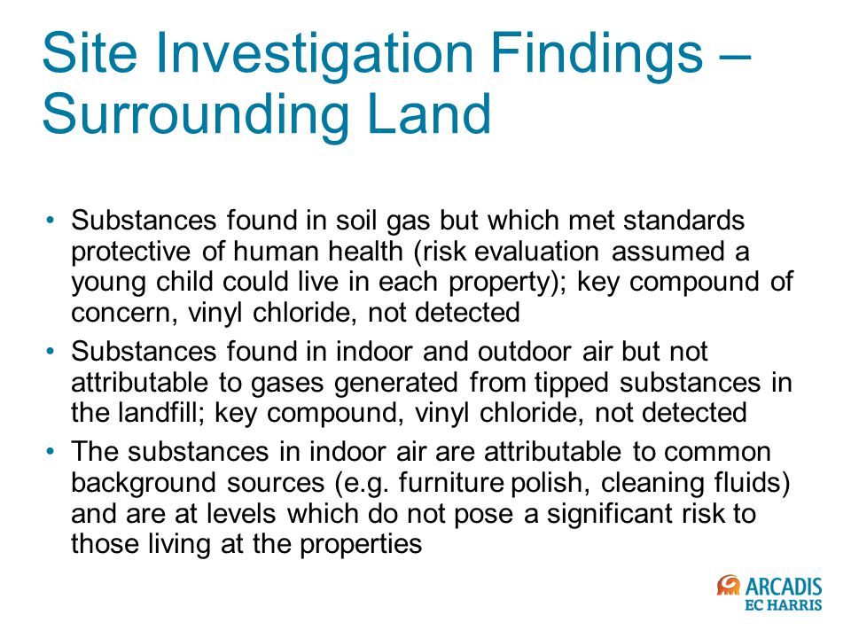 Site Investigation Findings – Surrounding Land