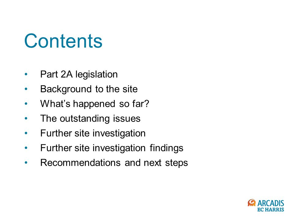 Contents Part 2A legislation Background to the site