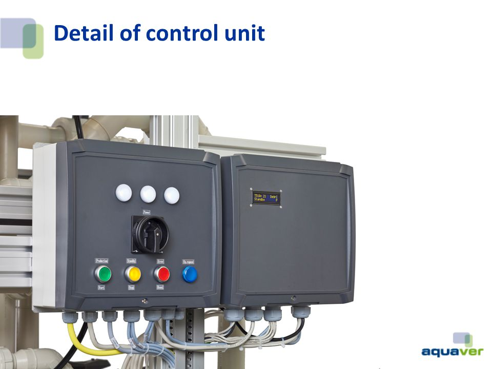 Detail of control unit WTS-40 which produces 60l/h and WTS-1000 which produces 1m3/h.
