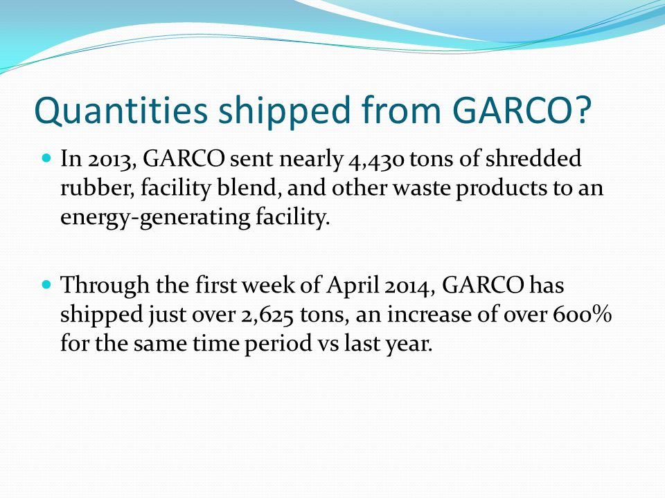 Quantities shipped from GARCO