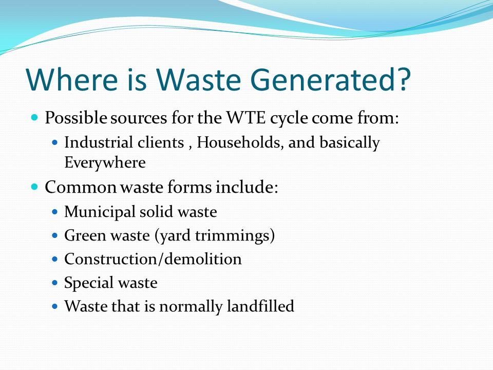 Where is Waste Generated